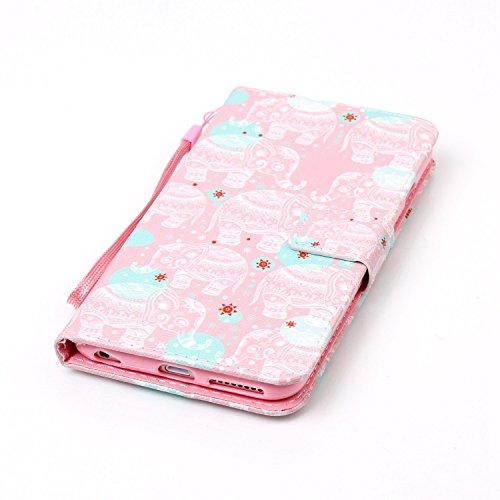 Apple iPhone 6/6 Plus 5.5 Custodia,Feeltech alta Qualità Colorato Modello Sottile Foglio Cuoio PU Portafoglio con [Free 2 in 1 Penna Dello Stilo] Interno TPU Bumper Funzione Dello Stand [Slot per Sc Elefante Bianco Totem
