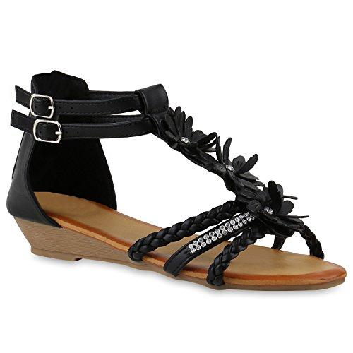 Damen Keilsandaletten Sandaletten Denim Bast Leder-Optik Keilabsatz Sandalen Wedges Strass Schuhe 143512 Schwarz Camargo 38 - Schuhe Sandalen Frauen Wedges