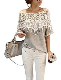 """Antemi - Femmes - Tee-shirt femme gris col bateau avec crochet blanc """"Moca"""" - Gris"""