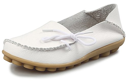Eagsouni Damen Mokassins Bootsschuhe Leder Loafers Freizeit Schuhe Flache Fahren Halbschuhe Slippers - Nähen Schubladen