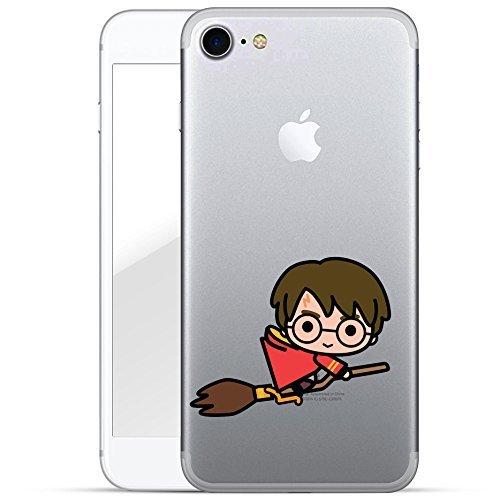 Finoo | iPhone 7 Hard Case Handy-Hülle Harry Potter Motiv | dünne stoßfeste Schutz-Cover Tasche mit lizensiertem Muster | Premium Case für Dein Smartphone| Harry Potter Chibi fliegt transparent Tolle Iphone Cover