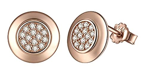 SaySure- 925 Sterling Silver Classic Rose Gold Plated Clear