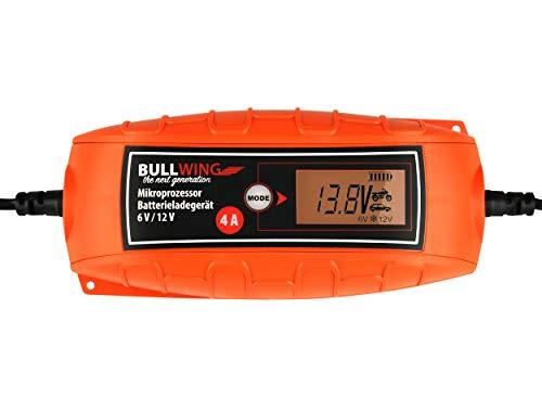 Bullwing Batterieladegerät Mikroprozessor 6/12V 4A Vollautomatisches Batterie Ladegerät Auto KFZ Motorrad Universal Orange