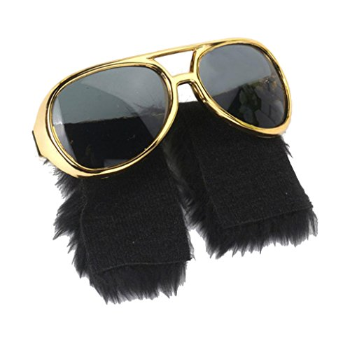 1980 Disco Kostüm - D DOLITY Damen Herren 1980s Party Kostüm Zubehör Gold Sonnenbrille Partybrille Spaßbrille Disco Cosplay Fotorequisiten Fun Dekoration