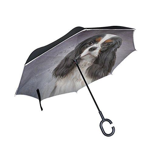 mydaily Double Layer seitenverkehrt Regenschirm Cars Rückseite Regenschirm Cavalier King Charles Spaniel Hund winddicht UV Proof Reisen Outdoor Regenschirm (Spaniel Regenschirm)