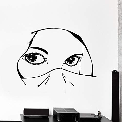 TYLPK Neues Design Vinyl Aufkleber Aufkleber Augen Arabisch Schöne Frau Mädchen Dekoration Für Schlafzimmer Abnehmbare Kunstwand 83x56 cm