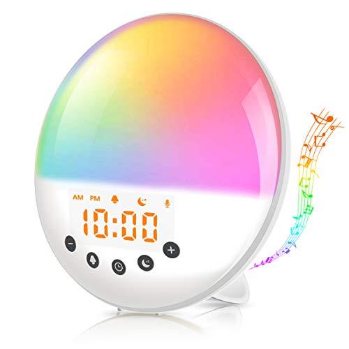 AMBOTHER Lichtwecker Wake Up Licht, Tageslichtwecker Sonnenuntergang Sonnenaufgangssimulator Wecker, Aufnahme, 7 Farben, 8 natürlichen Wecktöne, Schlummerfunktion, FM-Radio Kinder Nachttischlampe