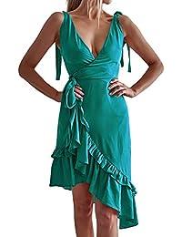 e903ac7a60 Mosstars Vestidos de Fiesta Mujer Cortos Sexy Vestido Manga Larga Cuello  Pico Volantes asimétricos Verano Sundress