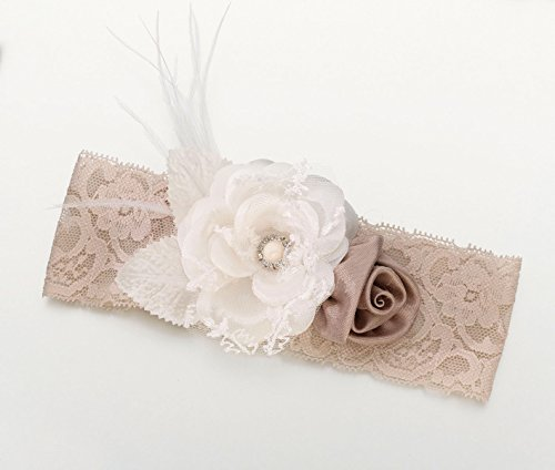 Lillian Rose Vintage Lace Wide Garter, Taupe and Ivory -