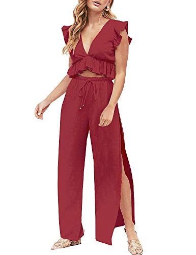 eiler Jumpsuit Hose und Top 2 Piece Outfits Overall Set Rot M ()