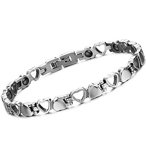 Oidea Damen Armband, Exquisit Hohl Herz Link Edelstahl Magnet Gesundheit Armreif Magnetarmband, Silber