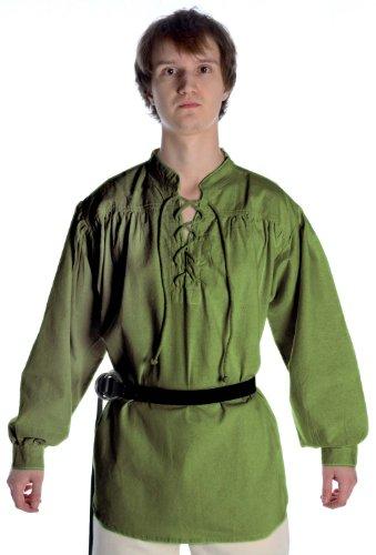 HEMAD Mittelalter Hemd Schnürhemd Stehkragen Hemd grün XL (Reenactment Kostüm Pirat)
