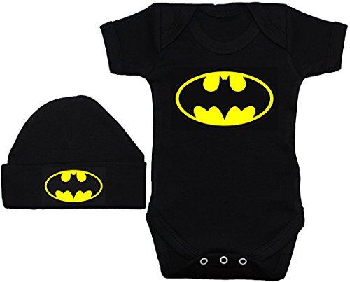 Bate bebé Pelele Body de//chaleco/camiseta & Beenie Gorro De Batman negro 0A 12meses negro negro 3 mes
