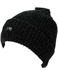 Hommes Tricot Épais Thinsulate Doublure Polaire Bonnet De Ski - Noir