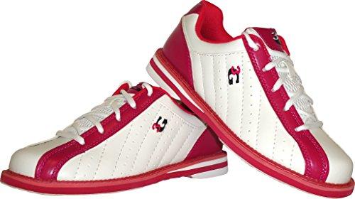 Bowling-Schuhe, 3G Kicks, Damen und Herren, für Rechts- und Linkshänder in 7 Farben Schuhgröße 36-48 (weiß-pink, 37.5 (US 7.5))