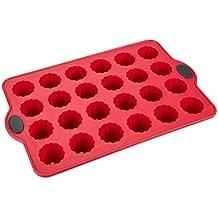 Levivo Stampo in Silicone per Muffin per 24 Mini Muffin/Cupcake, 34,5 X 21,5 cm, Rosso