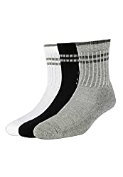 Allen Solly Mens Solid Calf Socks (8904241905822_Multi-Colour _25 X 37) (Pack of 3)