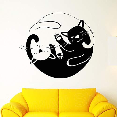 wukongsun Nette lustige Katze Yin und Yang buddhistisches Symbol wandaufkleber Tier raumdekoration Wohnzimmer Vinyl wandtattoo wandbild Poster 86 cm x 75 cm