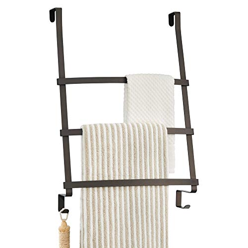 mDesign porte-serviettes à suspendre - installation de l'accroche torchon sans perçage - parfait porte torchon pour la cuisine ou la salle de bain - avec 3 barres et des crochets - couleur : bronze