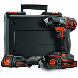 BLACK+DECKER ASD184KB-QW Perceuse visseuse Autosense sans fil - 18V - 1,5 Ah - 2 batteries - Chargeur inclus - Livrée en coffret - Mandrin autoserrant 10 mm