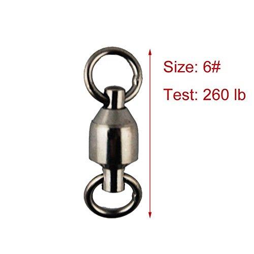 JSHANMEI ®Heavy Duty Ball Bearing Wirbel Geschweißt Ringe Split Ringe Angelausrüstung Zubehör Köder-Anschluss (Größe 6 (260 lb) 10 Stück)