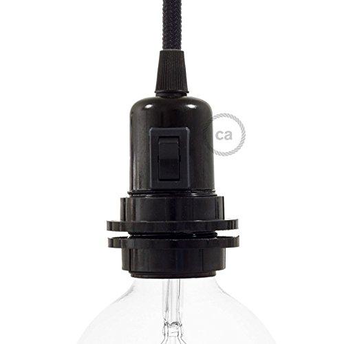 Creative-Cables Douille E27 avec interrupteur, 2 bagues, en bakélite noire - 1