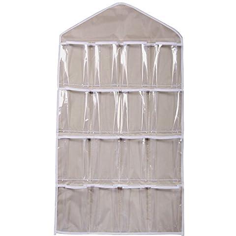 16 Pockets Clear Over Door Hanging Bag Schuh Rack Hanger Unterwäsche BH Socken Closet Storage Organizer (Beige)