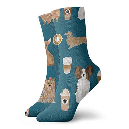 Hunde Süßer Hund Mit Kaffee Blau Best Dog Designs Süßer Hund Best Dogs Süßer Hund Designs Kaffee Und Hundeliebe Socken Atmungsaktive Damen Herren bedruckte Baumwolle Flachstrick Sport Socken 30cm -