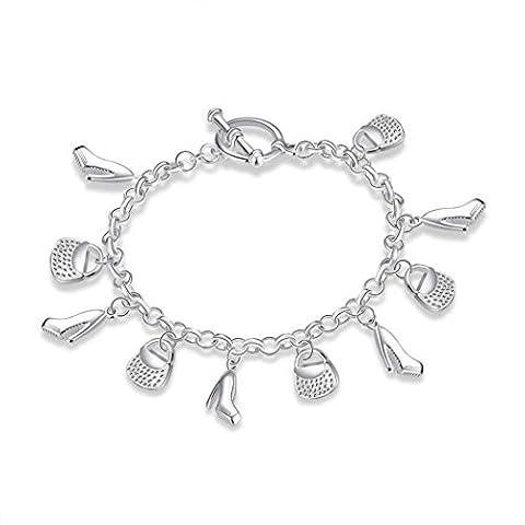 aokbi Frauen Mädchen 925Silber vergoldet Fashion Design trendige Classic Handgelenk Charme Armband Armreif Style E