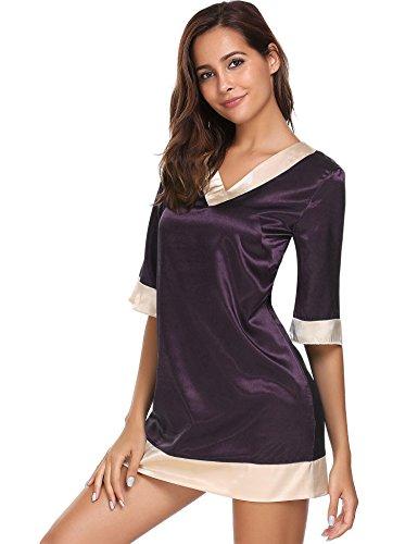 Damen Satin Nachthemd Kurz Negligee Kurzarm Nachtkleid Nachtwäsche Sleepwear Sleepshirt V ausschnitt, Lila, Gr. S/34-36 (Satin-sleepshirt)