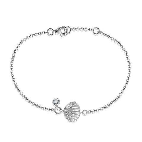 Yan Lei & Sterling Silver Sea Shell Scallop Charme und CZ-Armband