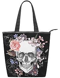 28f65f7612770 Jeansame Canvas Tote Bag Damen Shopper Top Griff Taschen Schultertaschen  mit Reißverschluss Totenkopf Halloween Blumen Herbst…