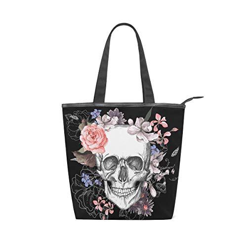 Jeansame Canvas Tote Bag Damen Shopper Top Griff Taschen Schultertaschen mit Reißverschluss Totenkopf Halloween Blumen Herbst Herbst