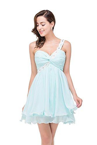 ... Babyonline® Damen Kurz Chiffon Ein Schulter Abendkleider Ballkleid  Brautjunfernkleider Abschlussballkleider Hell Blau ...