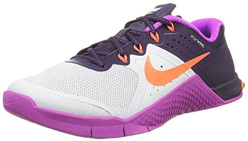 Nike Wmns Metcon 2, Zapatillas de Gimnasia Mujer, Plateado (Pr Pltnm / Ttl Crmsn-Hypr Vlt-Pr), 39 EU