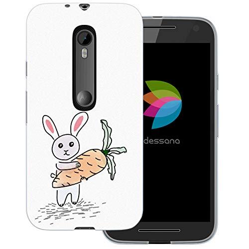 dessana Scribble Transparente Schutzhülle Handy Case Cover Tasche für Motorola Moto G3 Hase Kaninchen (Handy Cover Für G3)