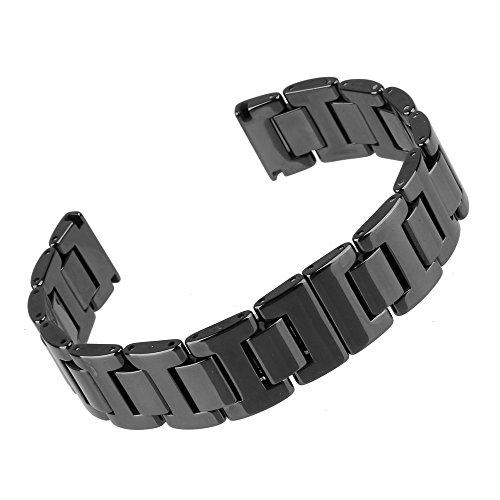 Beauty7 Bande Bracelet de Montre en Ceramique 14/16/18/20 mm Bande Deployante Remplacement Chaine du Montre Bande de Poignet Epaisse de 3.5mm Noir