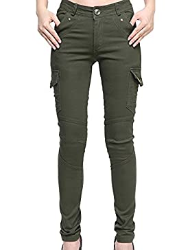 Runyue Pantalón para Mujer Combate Chino Capri Pantalones Lápiz Polainas De Montañismo Deportes Verde del Ejército 24