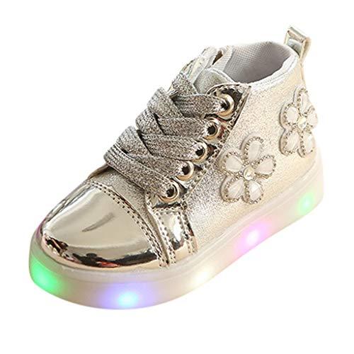 Stivali Ragazze Bambini Scarpe Luminosi Sneakers con Le Luci Accendono Scarpe Sportive/Energy Lights, Fiore di Strass Antiscivolo Scarpe da Ginnastica Bambino Trekking Scarponi(24,Argento)