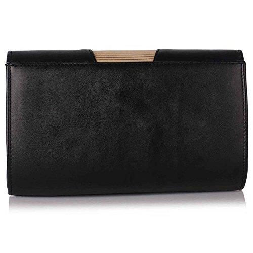 83dc3b2a1d7bc TrendStar Womens Designer Clutch Bag Sehr geehrte Damen Stil Flap Handtasche  Hochzeit Tasche Schwarz Nude ...