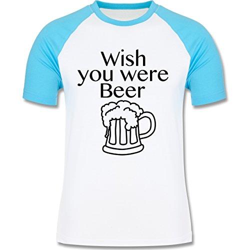 Oktoberfest Herren - Wish you were Beer Bierkrug - zweifarbiges  Baseballshirt für Männer Weiß/Türkis