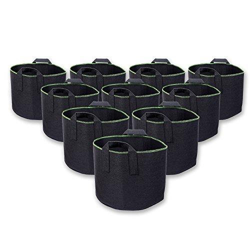 schramm® Lot de 10 30 L 10 Sacs en non-tissé sac de plantation plantation de sac de jardin en tissu non tissé pour planter Pot à plantes Sac de culture