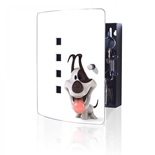 BANJADO Design Schlüsselkasten aus Edelstahl, 10 Haken für Schlüssel, praktischer Magnetverschluss, 24x21,5cm, Motiv Comic-Hund