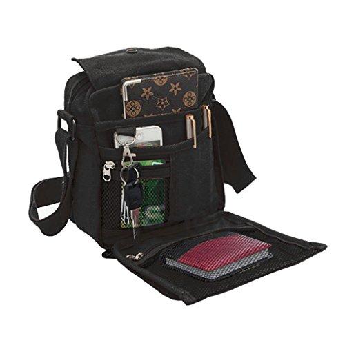 Liying Neu Umhängetasche Rucksack Tasche Retro Canvas Handtasche Praktisch Aktentaschen schultasche Schwarz