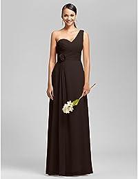 f2e327ce197 KeKaFu Sheath Column One Shoulder Sweetheart Floor Length Chiffon  Bridesmaid Dress with Flower by LAN…