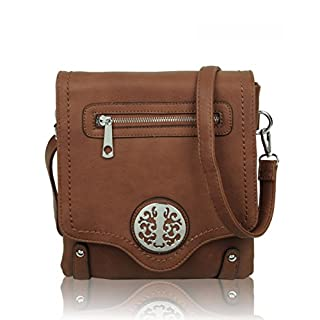 LeahWard Small Size Women's Chic Cute Little Cross Body Bag Nice Great Brand Across Body Purse Handbag 160512 160511 (BROWN FLAP)