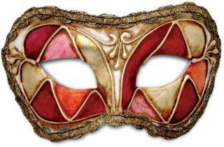 Karneval Venezianische Maske - Colombina arlecchino rosso