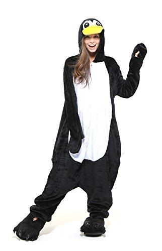 Pinguin Ganzkörper Tier-Kostüm für Kinder - Plüsch Einteiler Overall Jumpsuit Pyjama Schlafanzug - Schwarz/Weiß - Größe 134-140 (Hersteller Gr. 125)