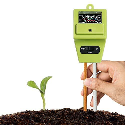 XLUX Boden Feuchtigkeit Meter, 3-in-1 Pflanze Tester, Boden-pH und Feuchte, Lichtstärke Meter Pflanze Tester für Garten, Bauernhof, Rasen