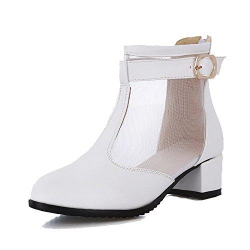 VogueZone009 Femme Zip à Talon Correct Pu Cuir Couleur Unie Rond Chaussures Légeres Blanc